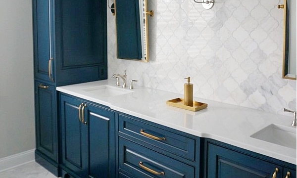 Sample Home Remodel - Bathroom with blue cabinets
