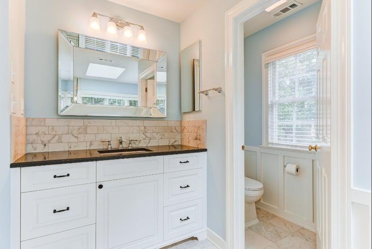 bathroom remodel - modern master bathroom with rectangular tiles