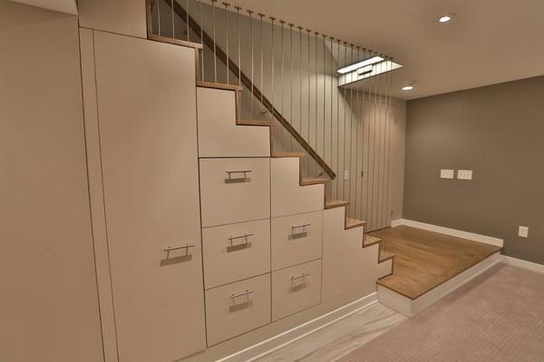 Storage in playroom - basement remodel idea