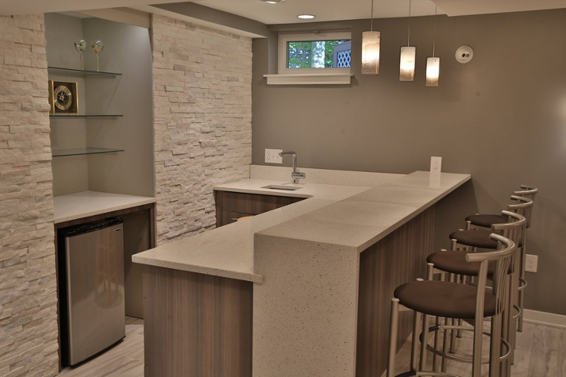 Entertainment space in a basement remodel