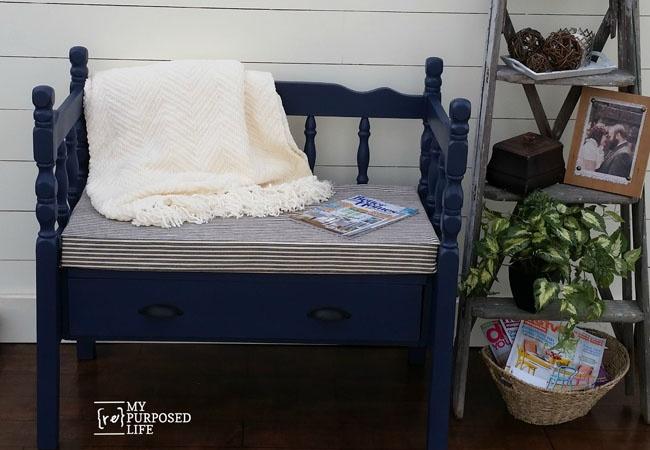 MyRepurposedLife-blue-headboard-bench-with-storage-drawer-1.jpg