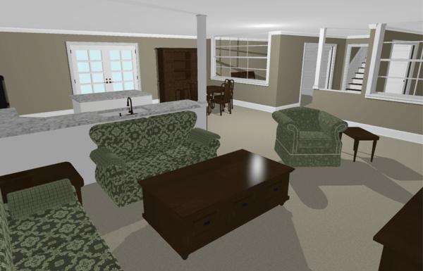 basement remodel rendering