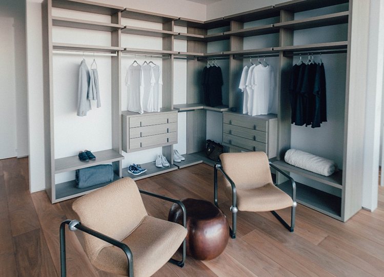Master closet design ideas | add seating | chairs in man's closet